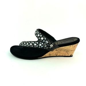 New York Transit Black Velvet Jeweled Wedge Sandal